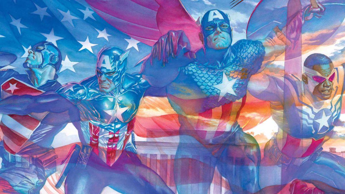 Steve Rogers, Sam Wilson, Bucky Barnes y John Walker celebran juntos los 80 años del Capitán América