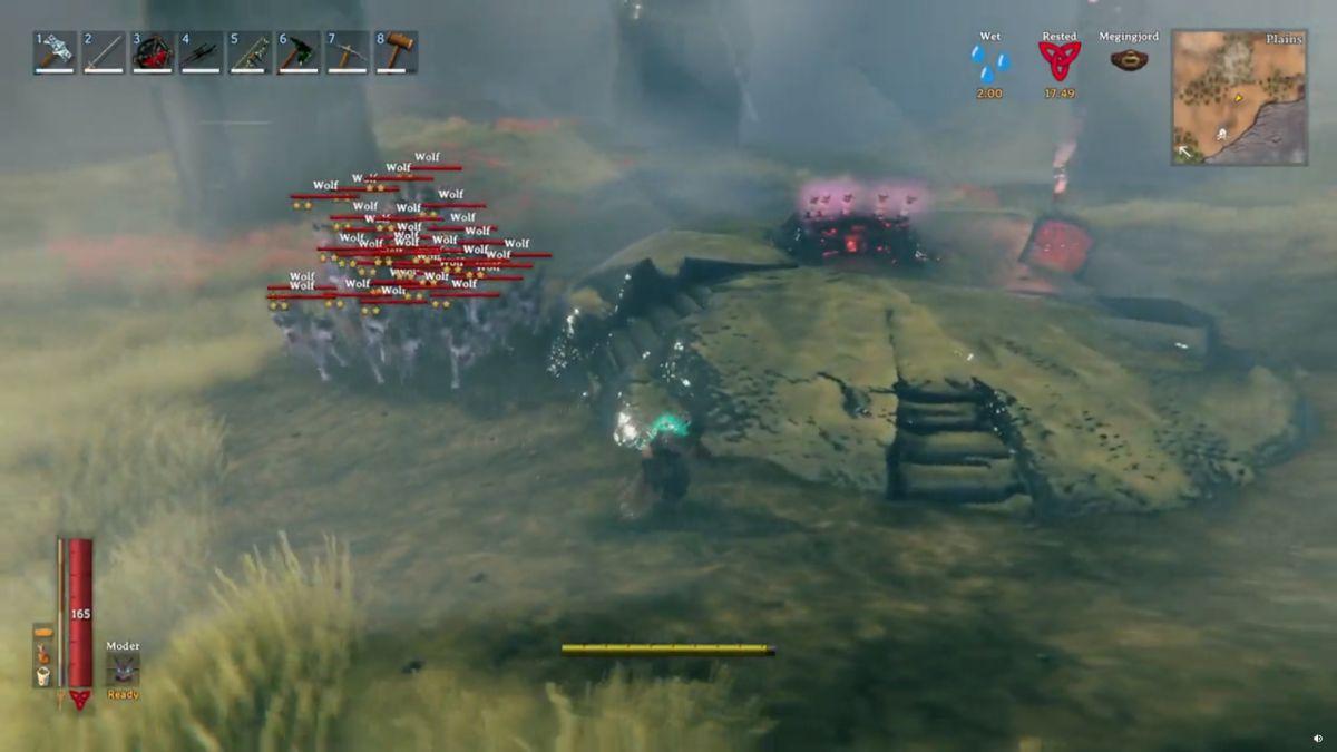 El jugador de Valheim devasta al jefe con una manada de 50 lobos.